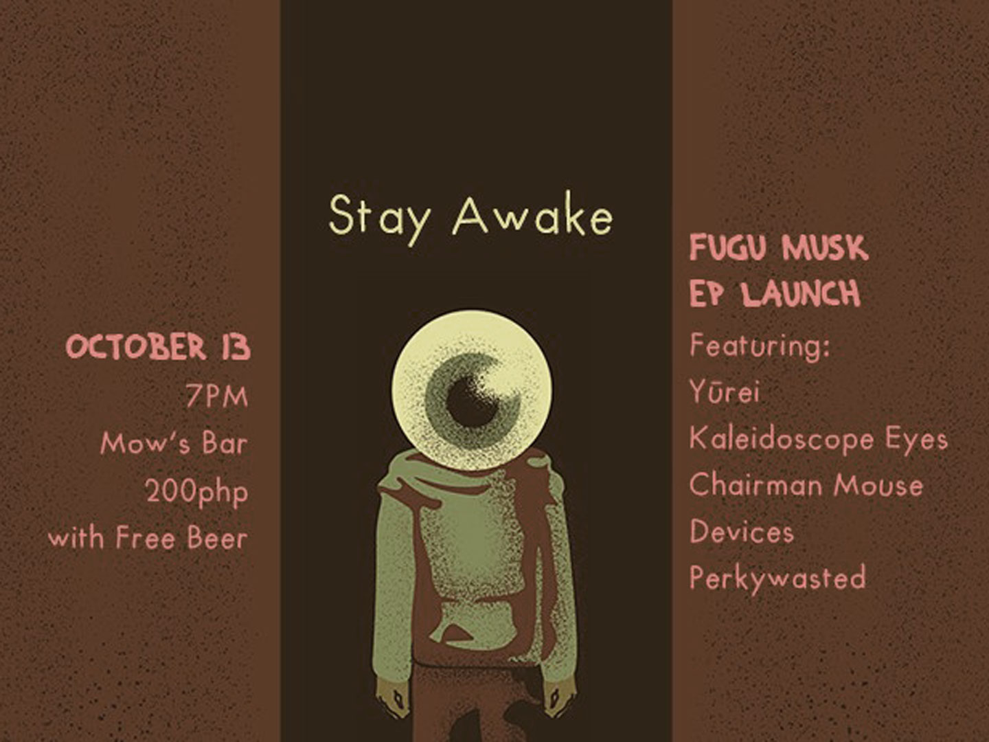 Poster for Fugu Musk's Stay Awake EP launch