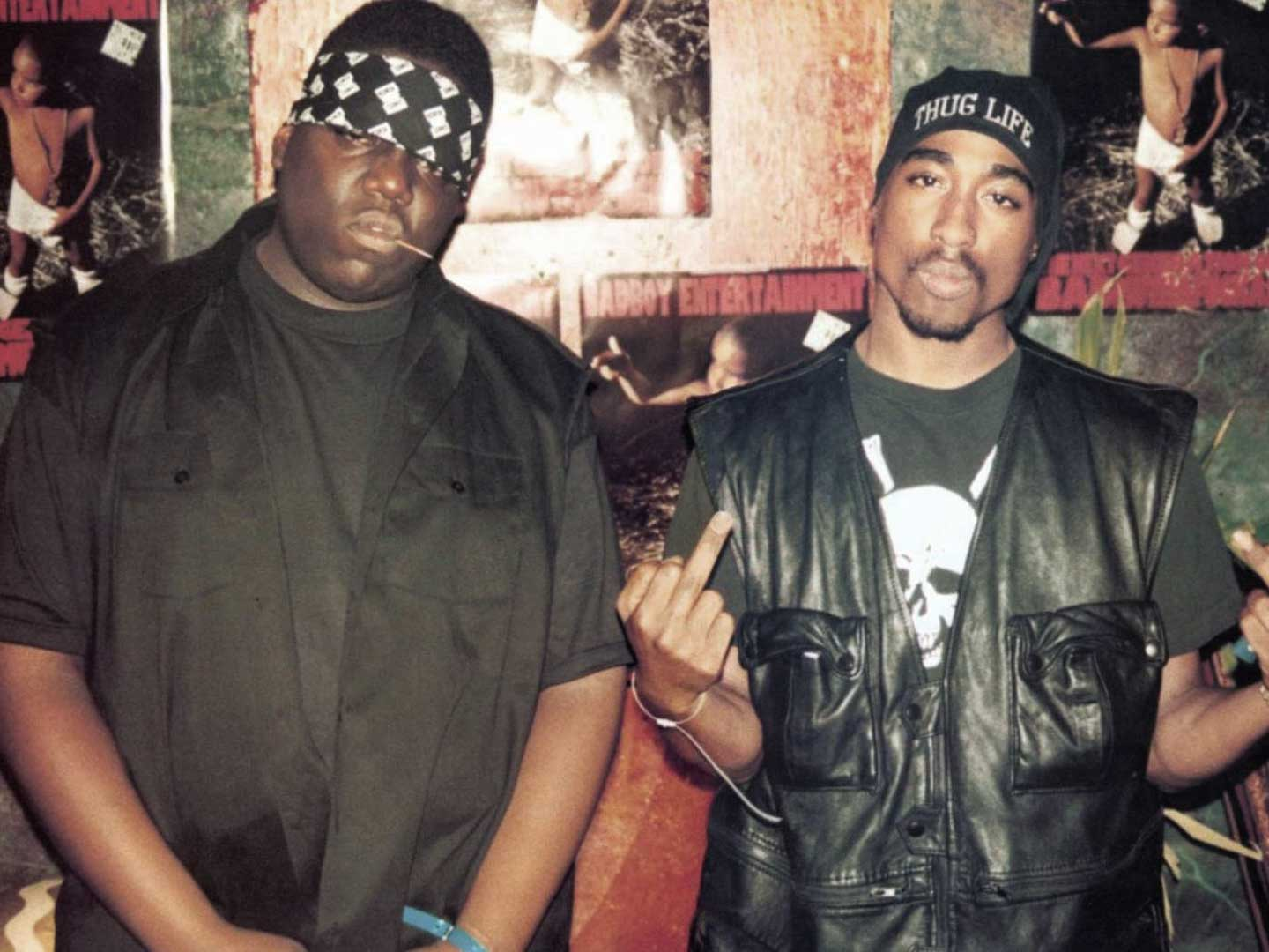 Biggie Smalls and Tupac Shakur in a photo op together